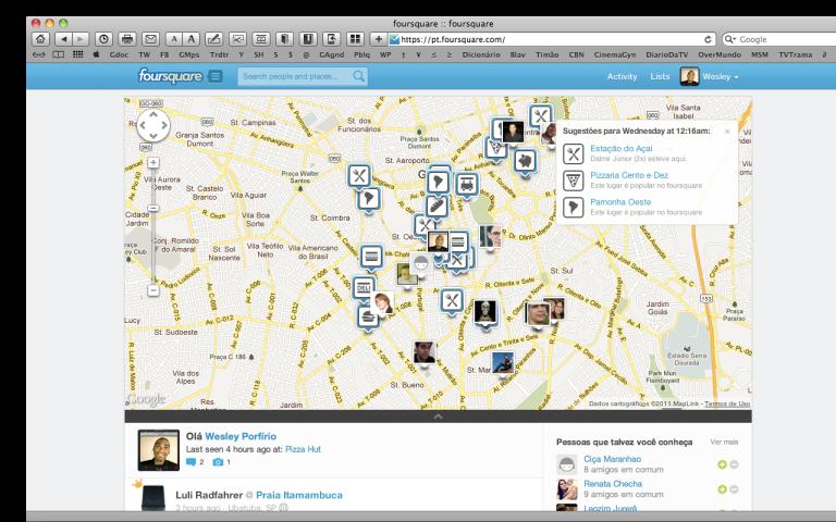 Mapa dos meu contatos