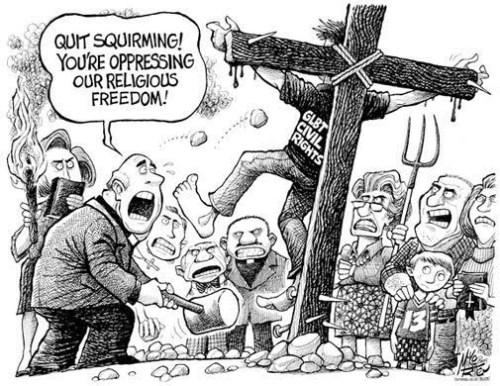 Pare de se contorcer! Você está oprimindo a nossa liberdade religiosa!