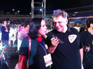 Minha amiga Honória sendo entrevistada